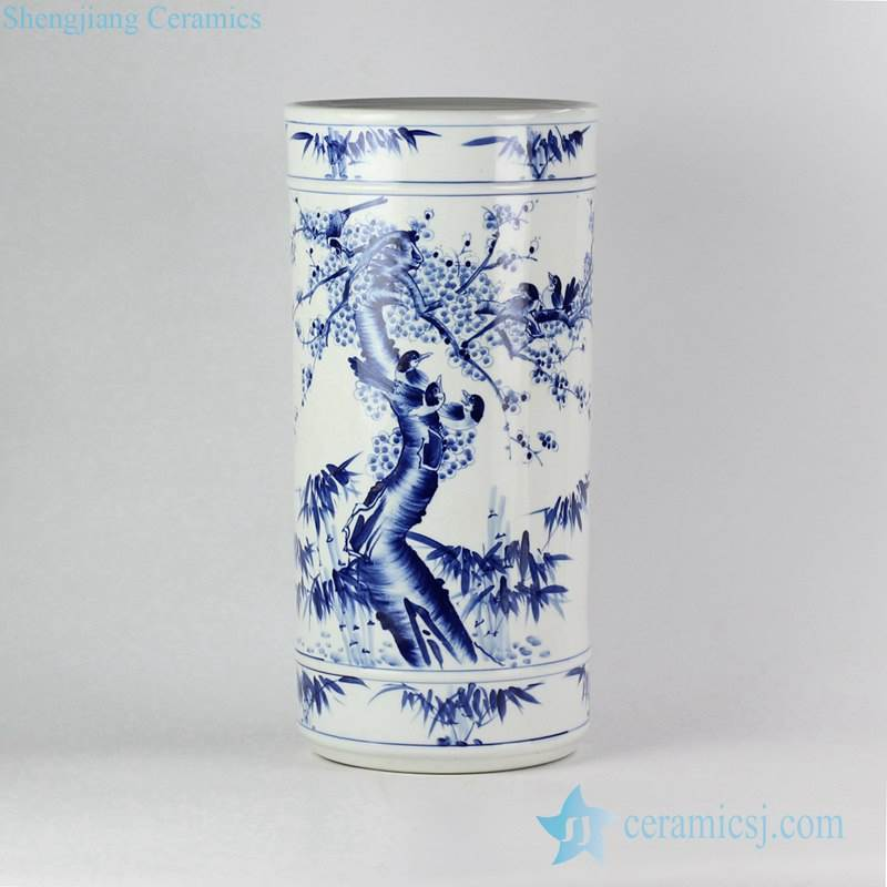 Chinese hand painting bird floral pattern floor standing tall ceramic vase