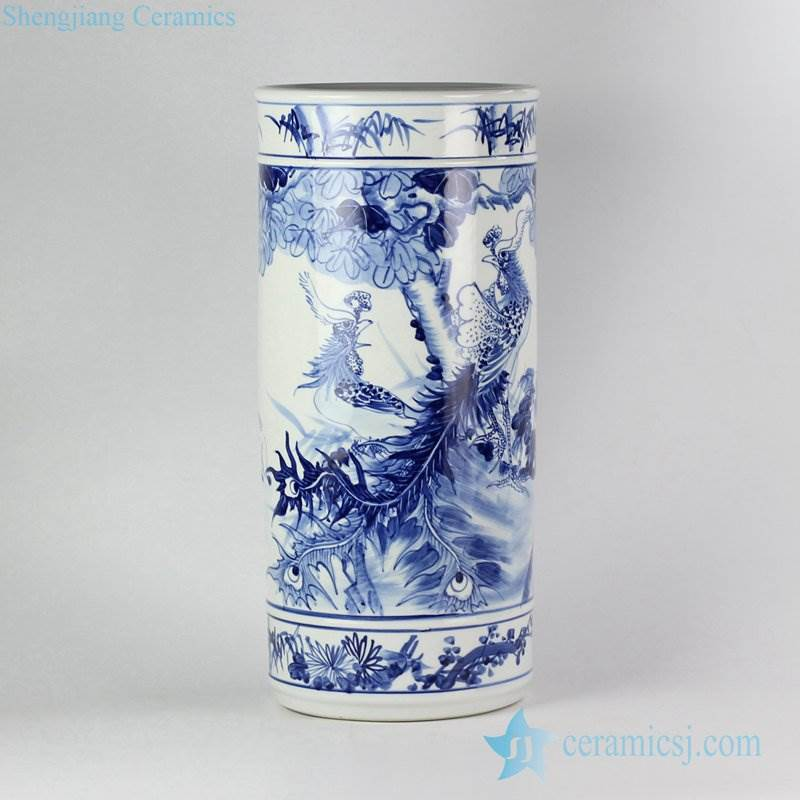 Blue and white lover collection hand paint phoenix pattern ceramic wedding decor vase