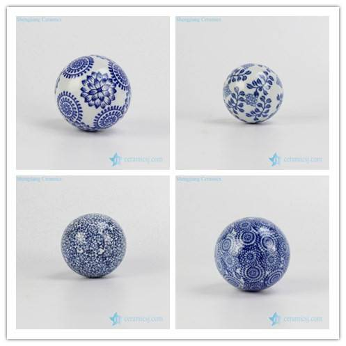 BLUE AND WHITE CERAMIC BALL FOR CHRISTMAS FESTIVAL