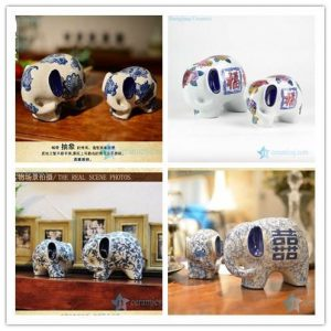RYPU30-1/B/C/D High quality warm and sweet home decor blue and white porcelain pair elephant figurines