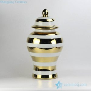 RYRJ16-B Glossy golden stripe pattern white background ceramic ginger jar for exotic interior design