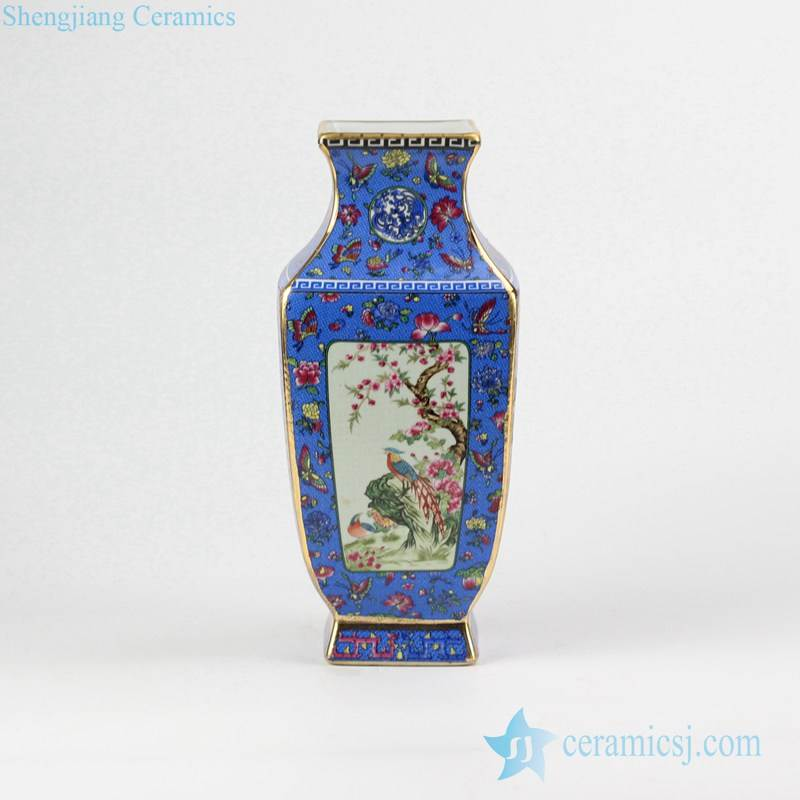Floral bird pattern square ceramic vase