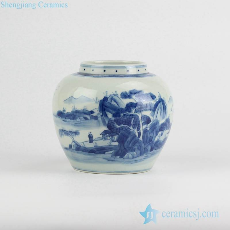 Live in seclusion pattern hand paint blue and white porcelain spice jar