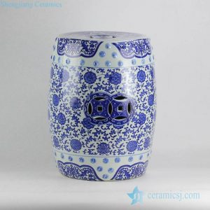 RYIR120-A Floral pattern blue and white cheap bathroom ceramic stool