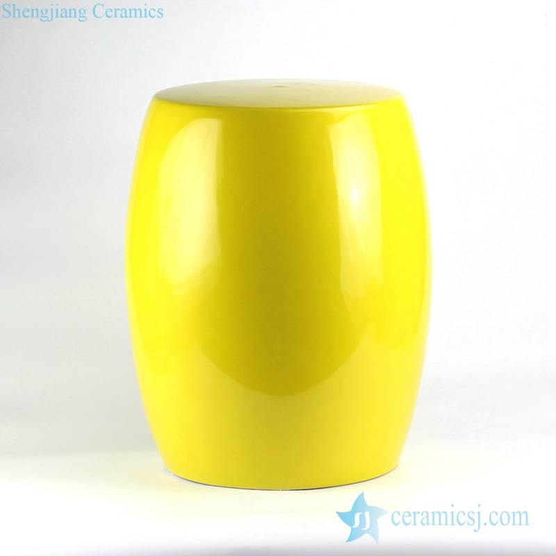 Lemon yellow solid color interior design side table usage ceramic stool
