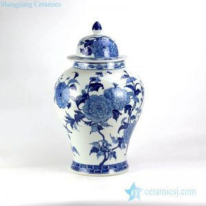 RYLU128 Gorgeous China peony pattern hand drawn porcelain ginger jar