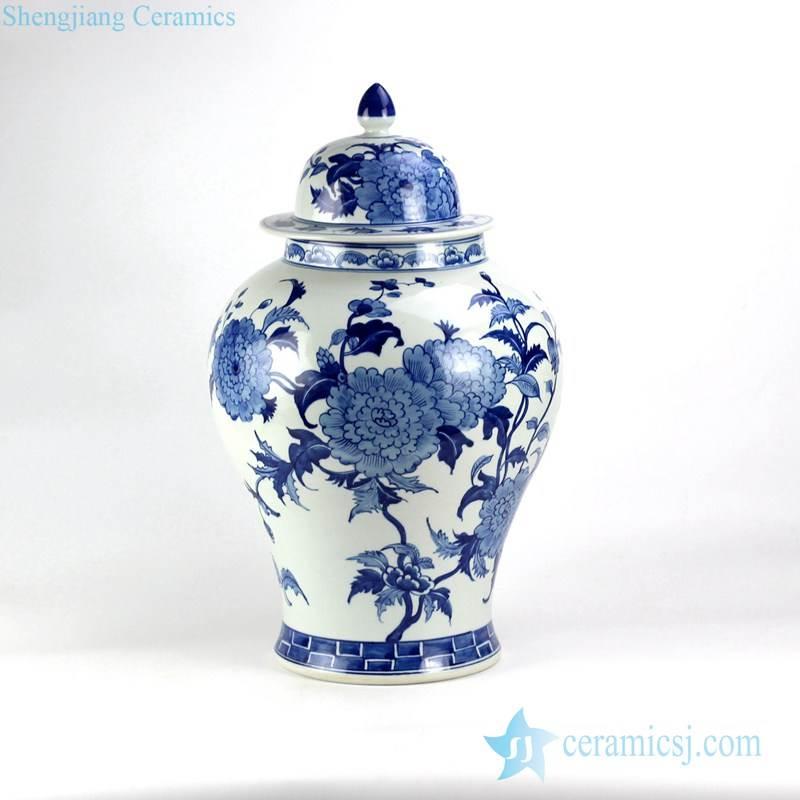 Gorgeous China peony pattern hand drawn porcelain ginger jar