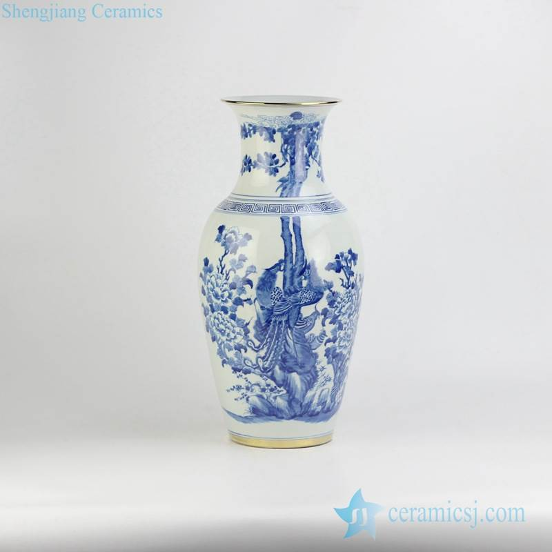 Household hand paint blue and white couple phoenix pattern golden line ceramic wedding gift vase