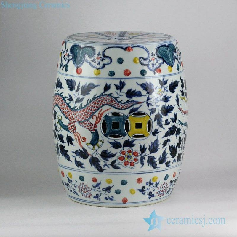 Colored intersperse blue and white hand paint China dragon and phoenix pattern wedding ceramic stool