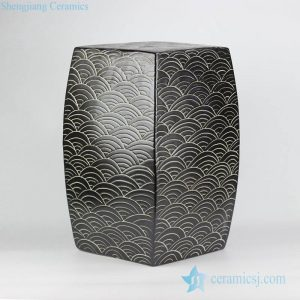 RYNQ204 RYNQ204-B concave-convex touching feel black/blue sea weave design ceramic square end table usage ceramic stool