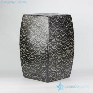 RYNQ204 RYNQ204-B concave-convex touching feel black/blue sea weave design ceramic square end table usage ceramic stool