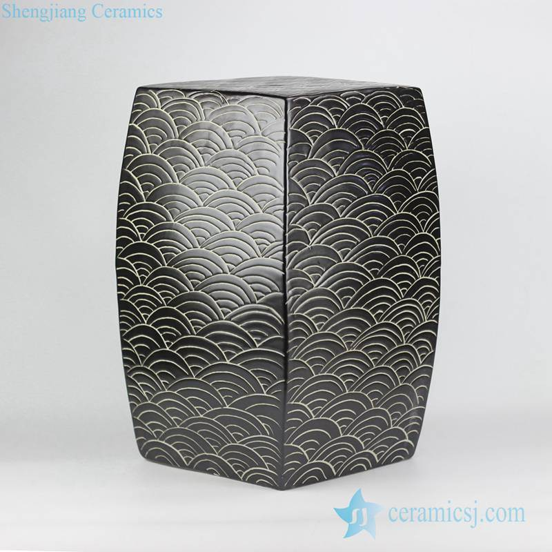 concave-convex touching feel black sea weave design ceramic square end table usage ceramic stool
