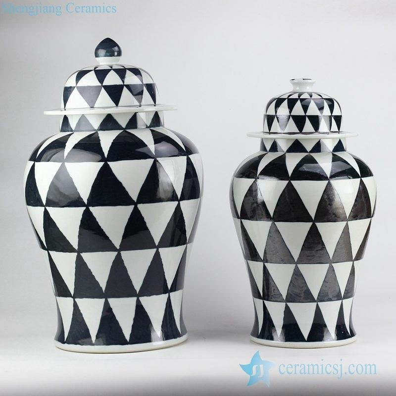 Exotic black and white triangle graph ceramic jars