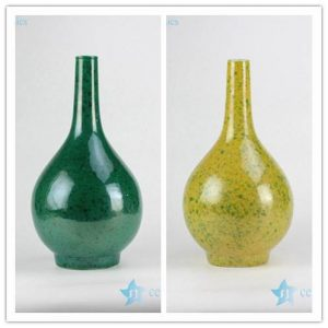 RYNQ206/207 High temperature colour glaze green and yellow ceramic flower vases