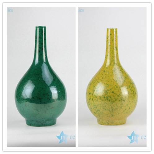 High temperature colour glaze green and yellow ceramic flower vase