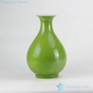 RYNQ208 Grass green glaze plain peach shape leaf veins crackle ceramic vase