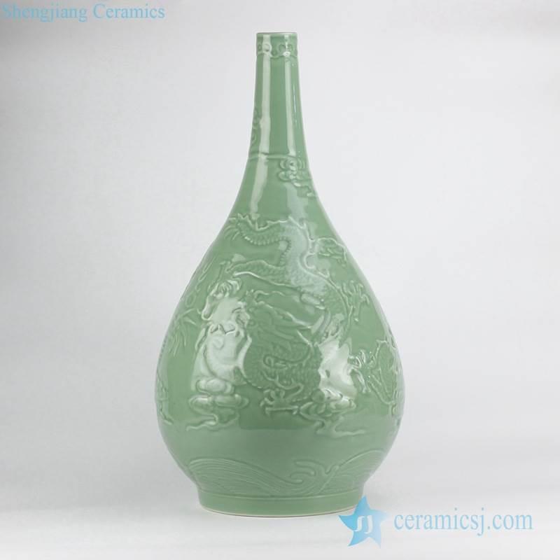 Jadeite green solid color hand carved oriental fire dragon antique porcelain flower vase