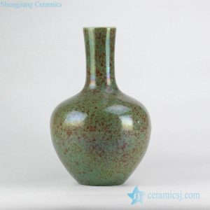RYNQ213 Green glaze with red flake design ceramic vase for distributor