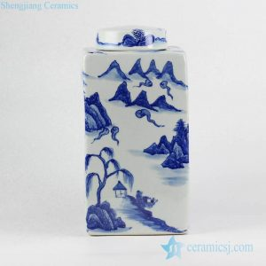 RYNQ214 Blue and white live in seclusion pattern square storage jar