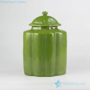 RYNQ215 Green color small crackle ceramic melon ridge jar with lid