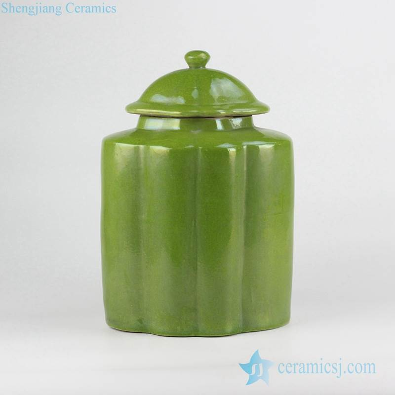 Green color small crackle ceramic melon ridge jar