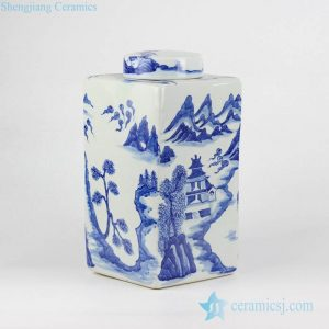 RYNQ215 Blue and white hand paint Chinese temple in mountains pattern ceramic square honey jar