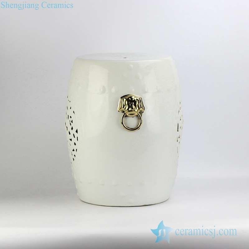 RYNQ53-D white glaze golden lion handle unique design porcelain stool GOLD LION SIDE
