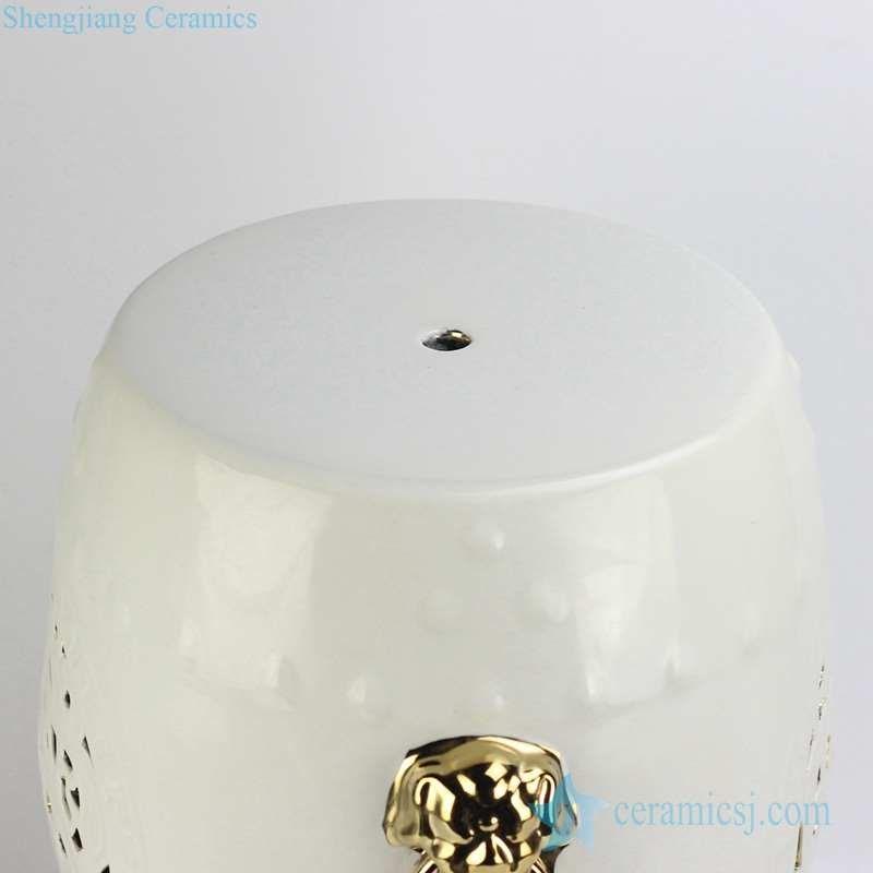 SHENGJIANG COMPANY THE TOP OF- RYNQ53-D white glaze golden lion handle unique design porcelain stool GOLD LION SIDE