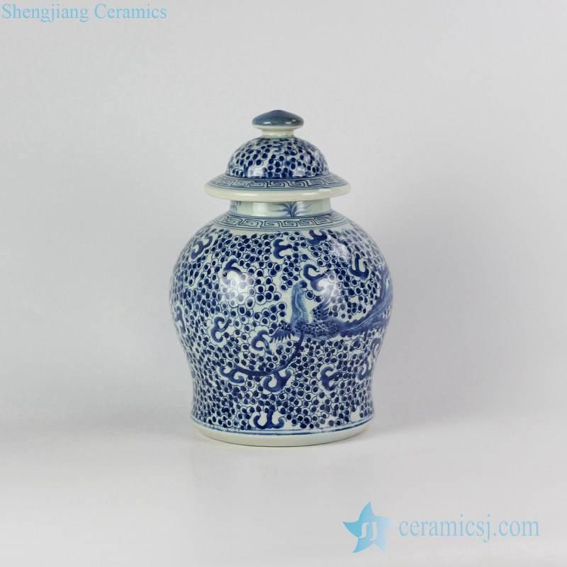 blue and white hand paint phoenix pattern medium size ceramic ginger jar