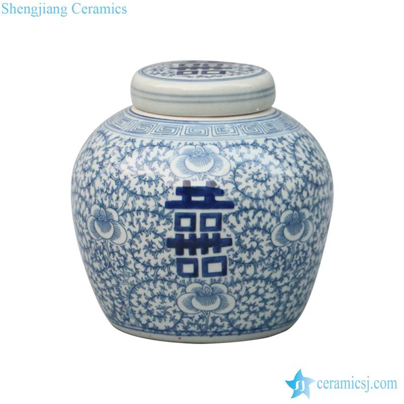 Flat lid blue and white hand drawing double happy Chinese wedding jar