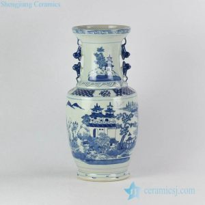 RYVM27 Antique China pavilion pattern collectible value centerpiece porcelain vase