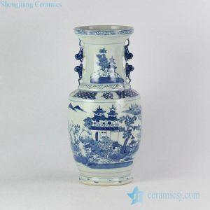 RYVM27 Antique China pavilion pattern collectible value centerpiece porcelain vase