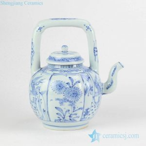 RYZB04 China collectible vintage blue and white ceramic tea pot with loop handle