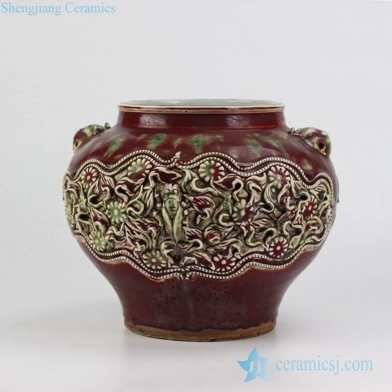Antique hand carved floral design red ceramic urn