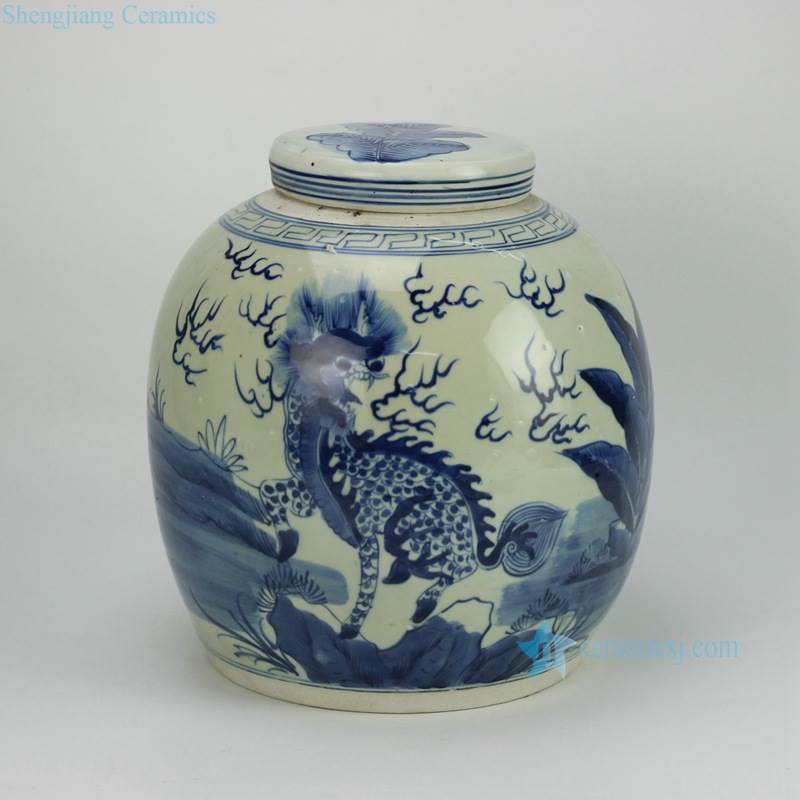 fire kylin pattern ceramic jar to sale