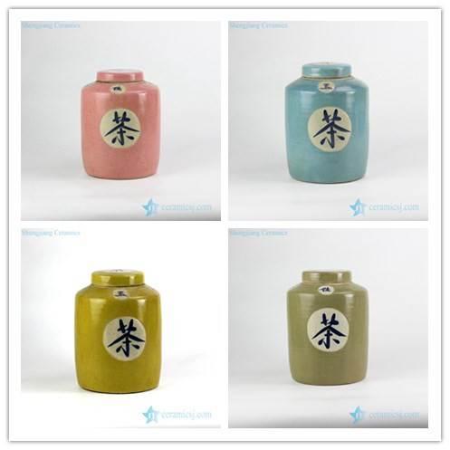 Pantone color bespoke Chinese hand paint tea letter ceramic tea tin jar