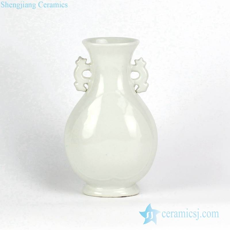 Pure white porcelain ceramic vase with two handles
