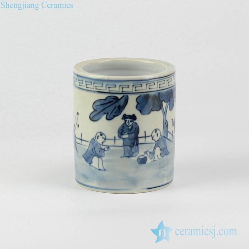 Asian children playing pattern blue and white hand paint porch ceramic little vase
