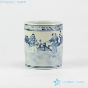 RZIQ01-E Vanity blue and white hand paint ancient China farmer sowing pattern porcelain pen holder