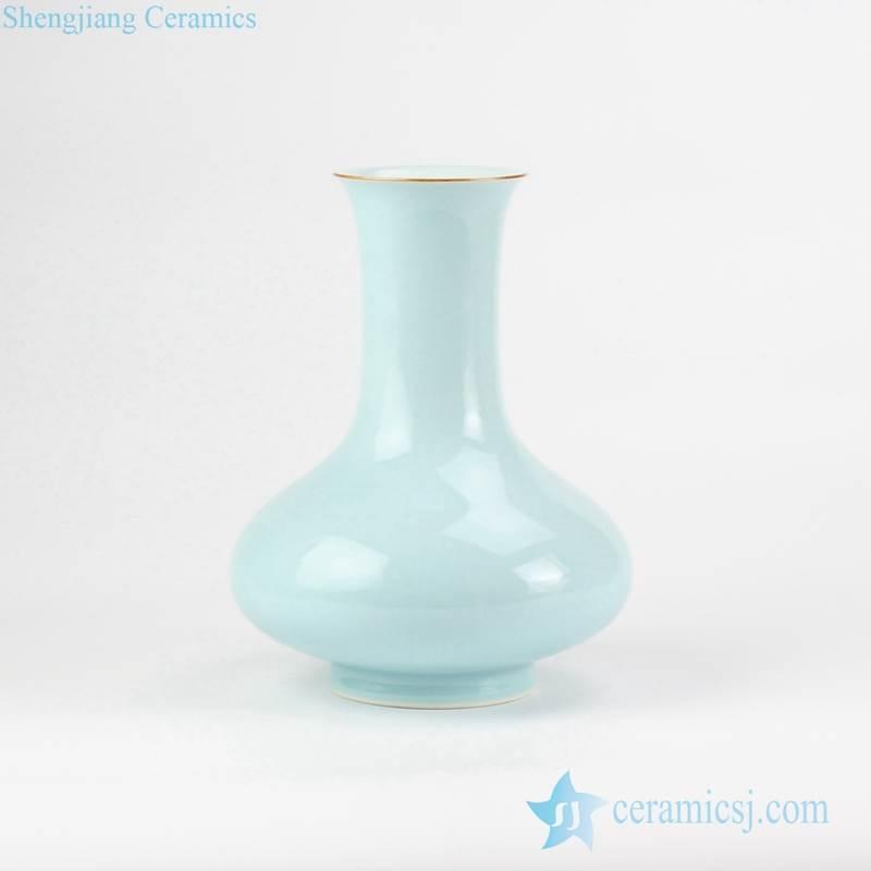 turquoise celadon glaze plain color onion shape ceramic flower vase