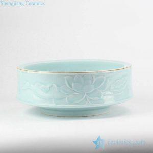 RZJR08 Elegant valuable carved lotus pattern mint green color hot sale ceramic water pot