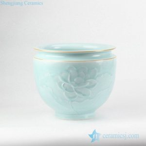 RZJR11 Golden line rim elegant mint green glaze carved lotus pattern ceramic flower pot