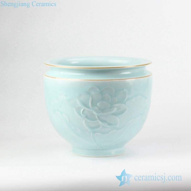 Golden line rim elegant mint green glaze carved lotus pattern ceramic flower pot
