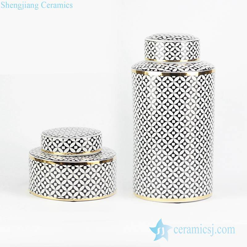 Geometric black coin pattern bring in wealth and treasure ceramic pair jar