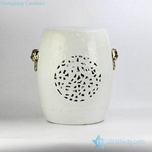 RYNQ53-D Popular export item white glaze golden lion handle unique design ceramic stool