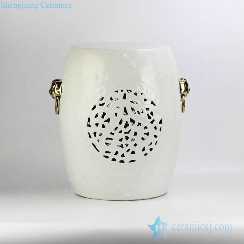 Popular export item white glaze golden lion handle unique design ceramic stool