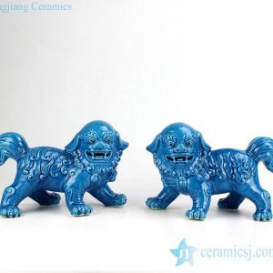 RZKC01-B Vivid frizzled hair foo dog figurine in pairs