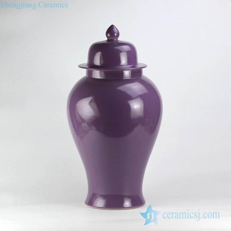 Dark lavender purple plain color glaze large size porcelain ginger jar
