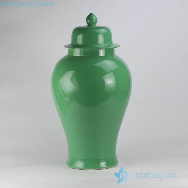 Avocado green glaze oversize ceramic ginger jar