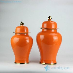 RYKB132-j-A Clementine yellow glaze glossy ceramic pair jar with gold pleated line